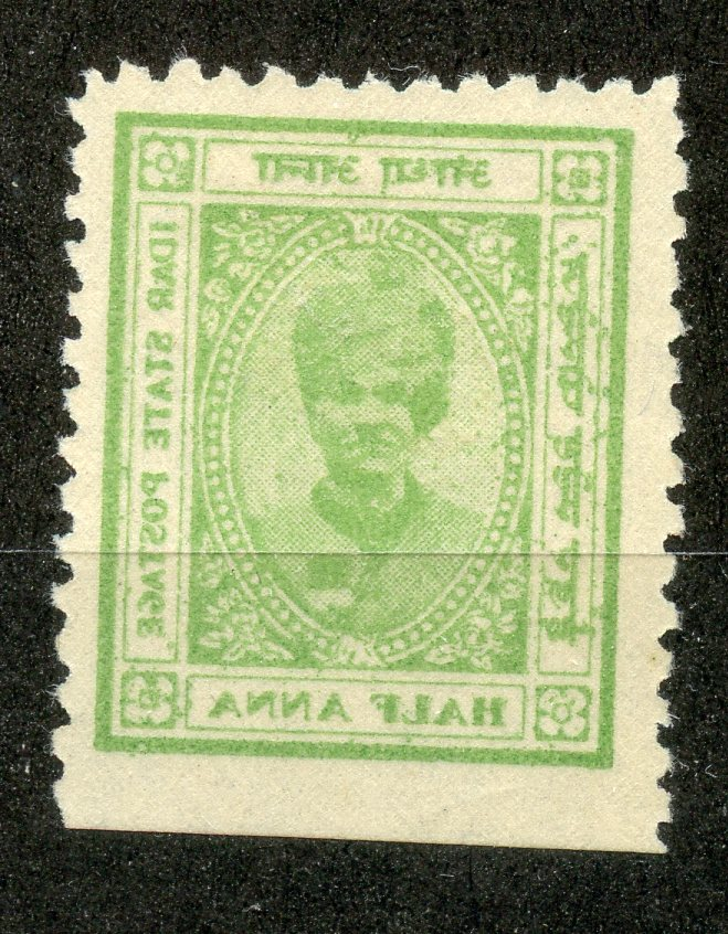 INDIAN STATES IDAR 1932 ½a light green printed on both sides mint. David Brandon states genuine.