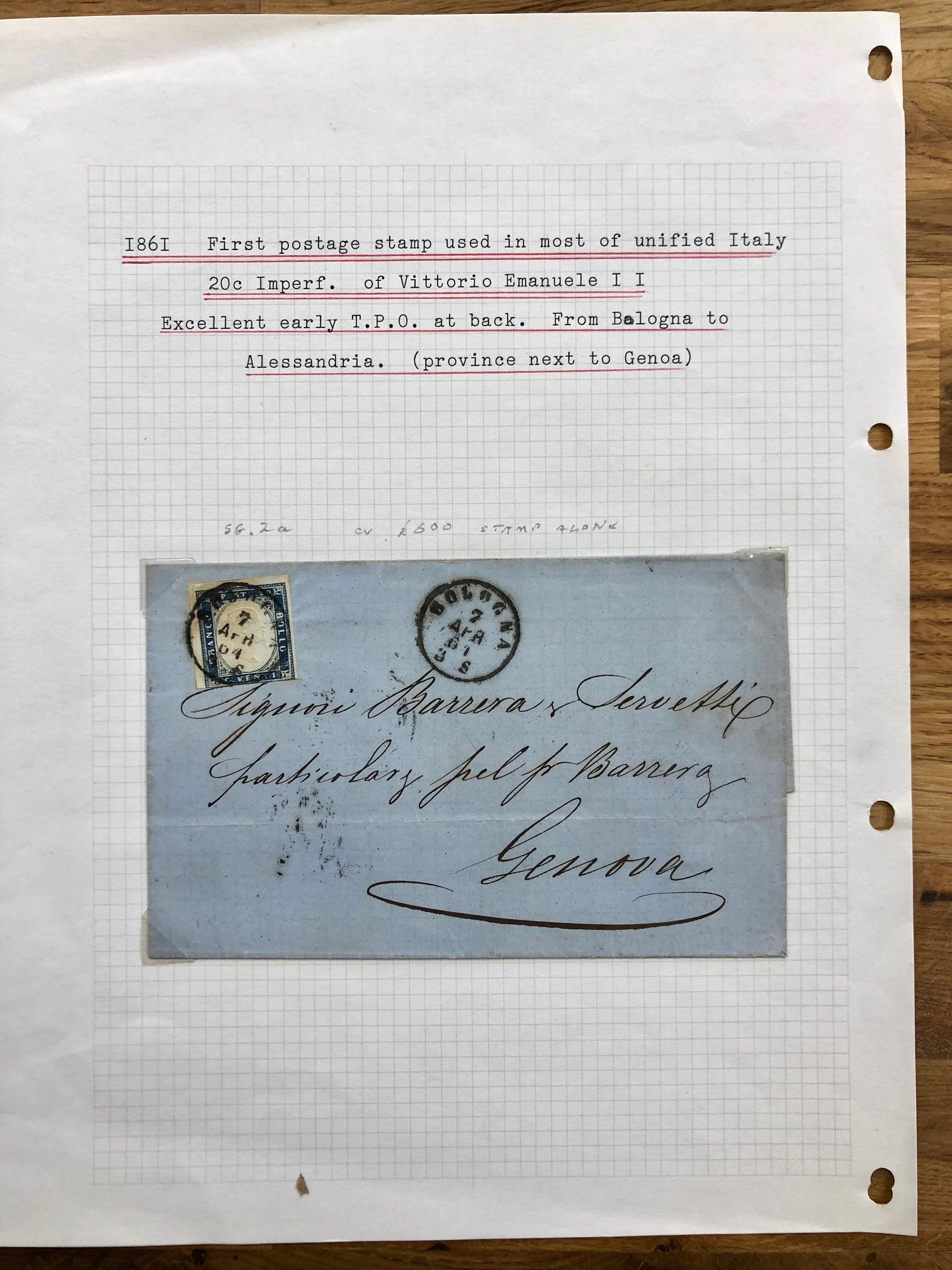 ITALY 1861 cover bearing 10c 4 margined imperf SG 2a the 1st stamp used in most of Unified Italy. On