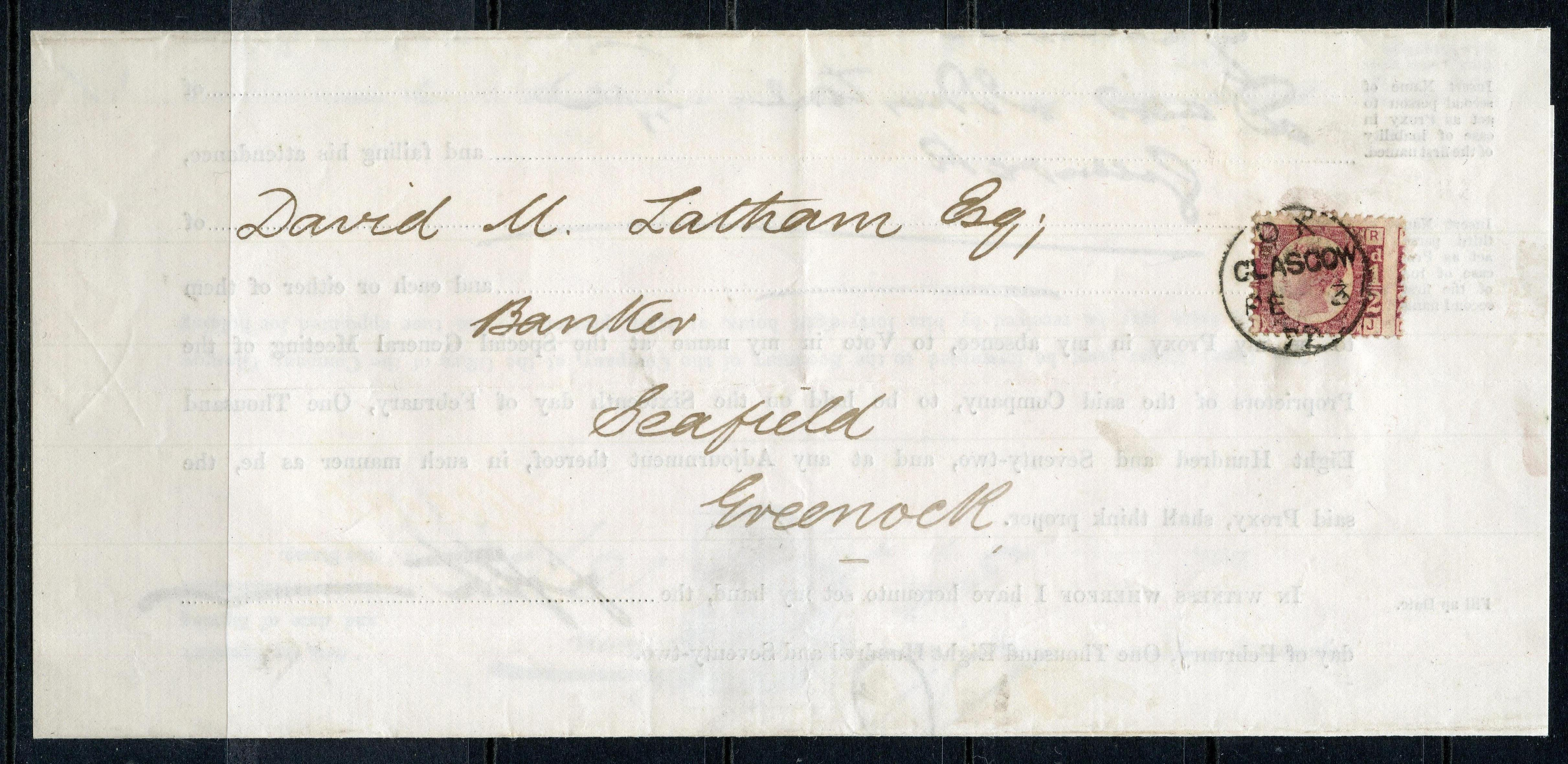 POSTAL HISTORY 1872 ½d rose red plate 3 neatly cancelled by Glasgow cds used on entire to Glasgow.