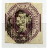 1847 Embossed 6d mauve almost 4 margined with light cancel. SG 58. Cat £1000.