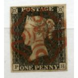 1840 1d Black plate 1a (PH) vfu 4 margined with red MX canc.