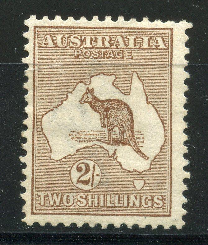 AUSTRALIA 1913 - 14 2/- brown wmk wide crown heavyish mint, light creasing. SG 12. Cat £375.