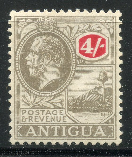 ANTIGUA 1921 - 29 4/- grey black and red wmk script mint. SG 80. Cat £50.