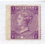 1867 - 80 6d mauve plate 9 (PI) mint, 2 short perfs. SG 109. Cat £700.