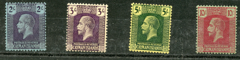 CAYMAN IS 1921 - 6 2/-, 3/-, 5/- and 10/- wmk script mint. SG 80 - 3. Cat £139.