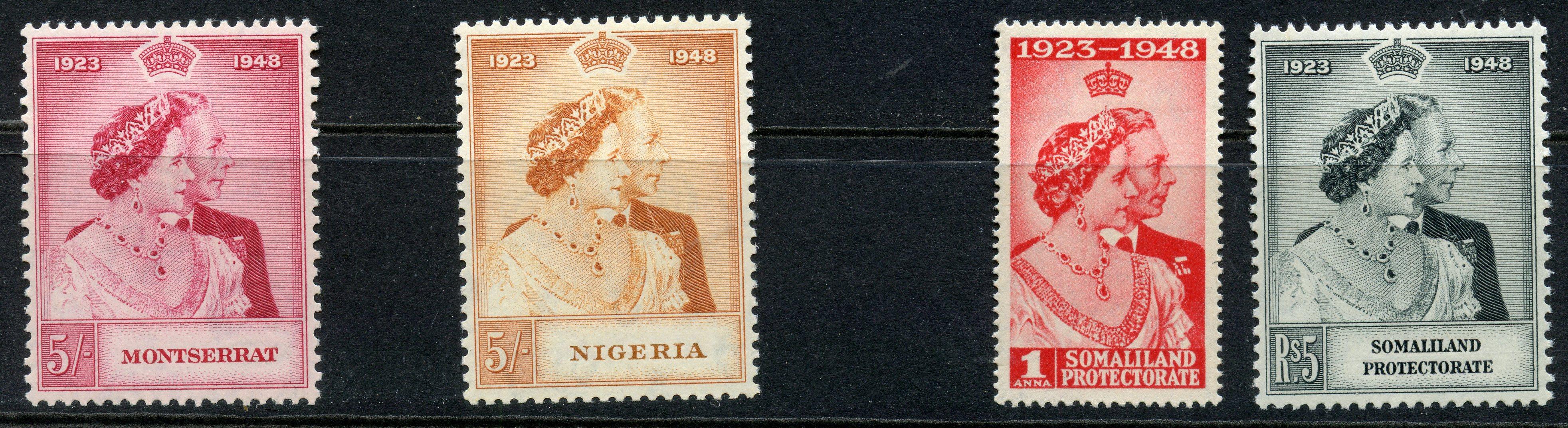 OMNIBUS 1948 Silver Wedding top values from Montserrat, Nigeria plus Somaliland set. Cat £32.