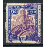 NYASALAND 1913 £10 purple and Royal blue fiscally used on small piece. SG 99e. Cat £150.