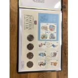 COIN COVERS 2016 Beatrix Potter includes 4 x 50p coins, in folder.