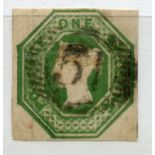 1847 Embossed 1/- deep green 4 margined with numeral cancel, thin. SG 54. Cat £1000.
