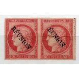 """FRENCH COLS REUNION 1891 80c pale rose pair with 1 stamp showing the """"EUNION"""" variety mint. Fine and"""