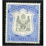 NYASALAND 1897 - 1900 2/6 black and ultramarine wmk Crown CC mint. SG 48. Cat £120.