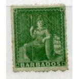 BARBADOS 1861 - 70 ½d green rough perf mint. SG 21. Cat £30.
