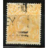 "AUSTRALIA 1919 - 20 4d orange showing the ""Line through Four Pence"" variety good to fu. SG 22e."