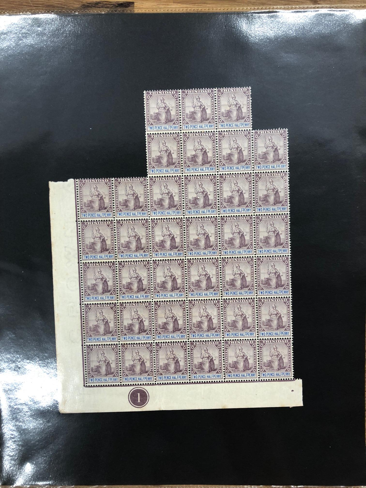 TRINIDAD 1896 - 1906 2½d dull purple and blue part sheet of 37 inc the plate no 1 um, usual light