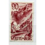 GERMAN ALLIED OCC BR & AMERICAN ZONE WURTTEMBERG 1948 - 9 90pf brown purple without pf vfu. SG FW