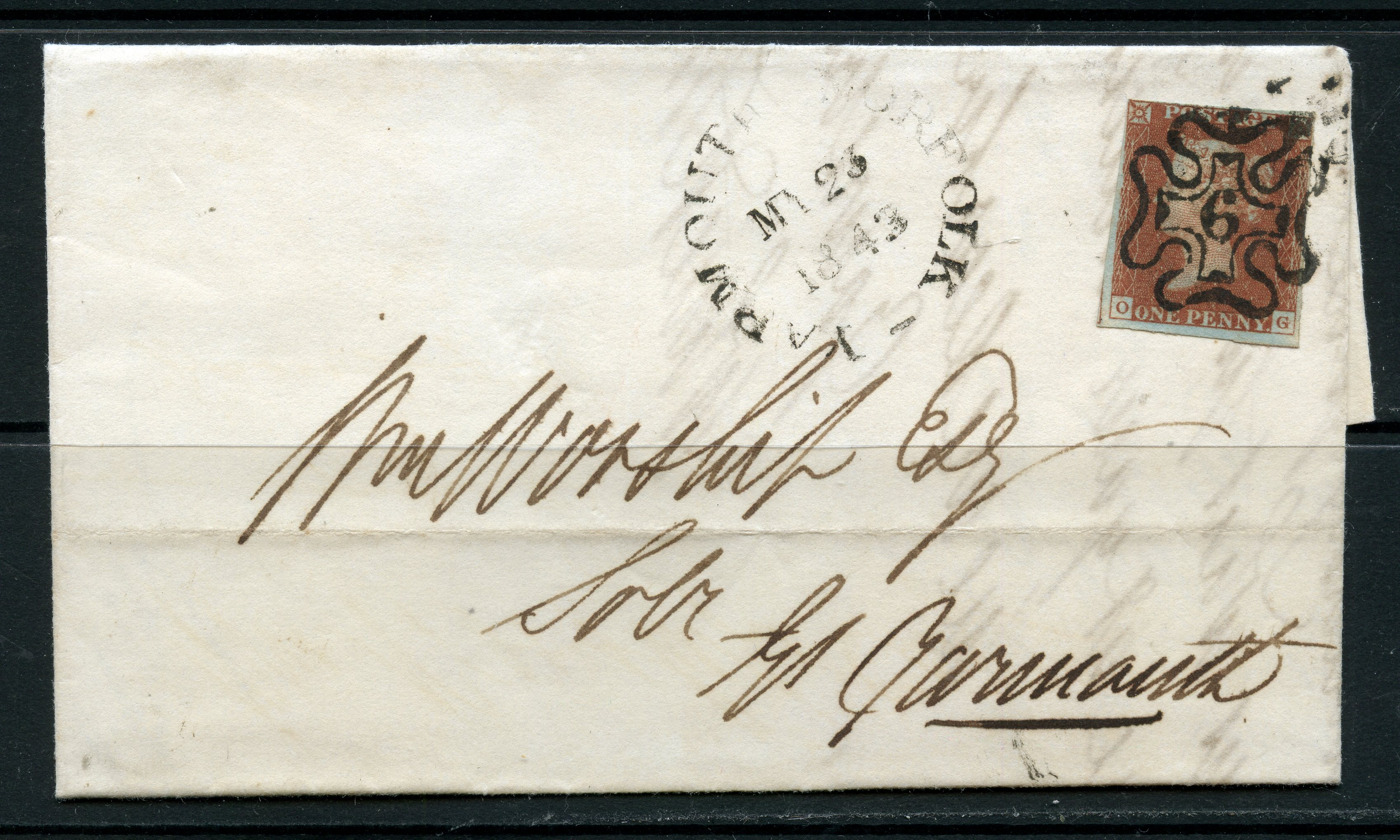 POSTAL HISTORY 1843 London to Great Yarmouth entire franked with a 1d red imperf 4 margin tied
