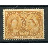 CANADA 1897 $3 bistre Jubilee mint. SG 138. Cat £1500.
