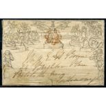 1840 Mulready July 1d letter sheet with adverts inside from Hallett's Postage Advertiser, sent