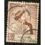 SINGAPORE 1948 $5 Silver Wedding fu. SG 32. Cat £50.