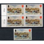 IOM 1973 3½p colour error of border in an um blocks of 4 plus normal. SG 18a. Cat £900.