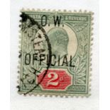 OFFICIALS OW 1902 - 03 2d yellowish green and carmine red vfu. SG 038. Cat £450.