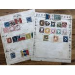 TWO VERY OLD stamp pages containing early issues from Spain, Portugal and South America, some very