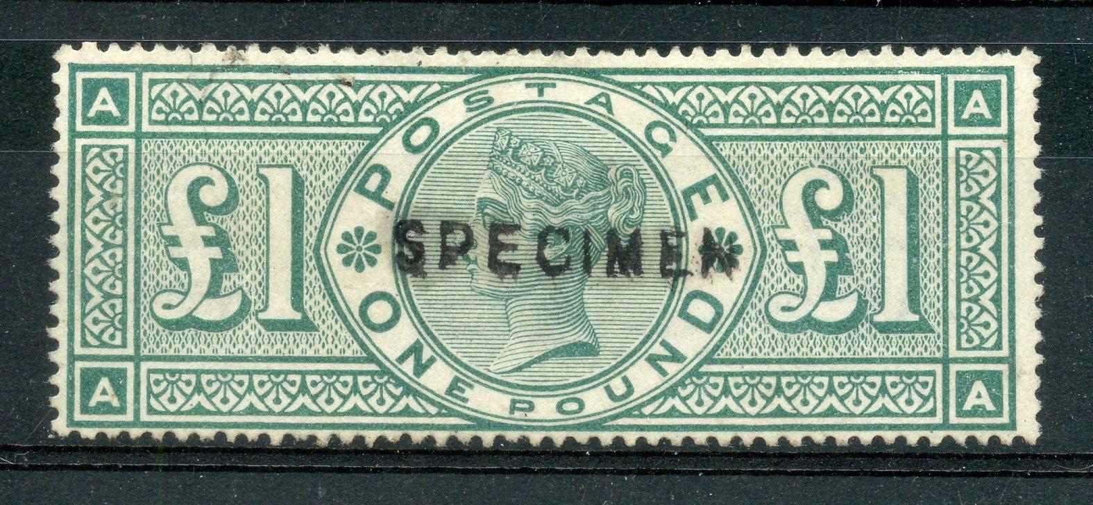 1891 £1 green (AA) opt Specimen unused. SG 212s. Cat £1100.