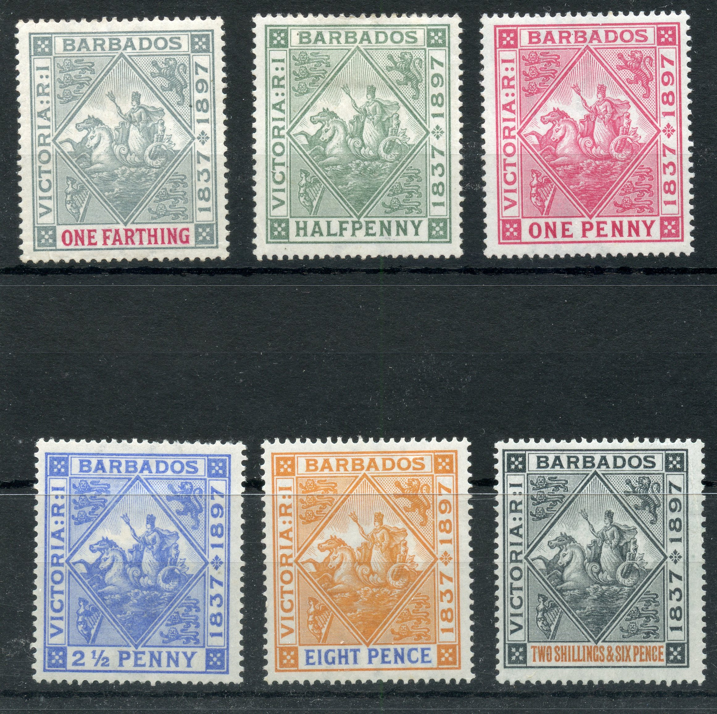 BARBADOS 1897 ¼d to 2½d, 8d and 2/6 Diamond Jubilee mint. SG btw 116 - 24. Cat £190.