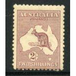 AUSTRALIA 1922 - 34 2/- maroon wmk narrow crown mint light toning. SG 74. Cat £80.