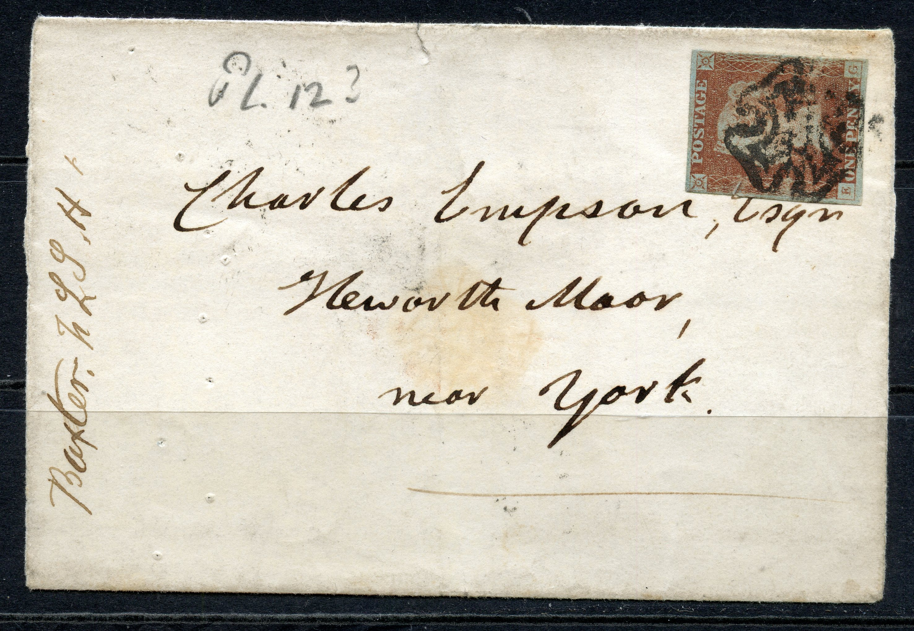 POSTAL HISTORY 1841 Oxford to York wrapper franked with 1d red imperf 4 margin stated to be plate 12
