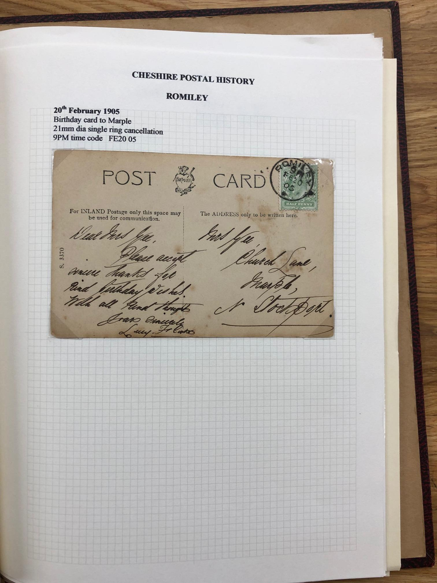 POSTAL HISTORY Cheshire collection of covers and PCs, KE7 to KGVI in album. Includes several KE7 - Image 2 of 2
