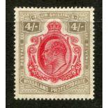 NYASALAND 1904 - 11 4/- carmine and black mint, light corner crease. SG 79. Cat £120.