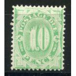 AUSTRALIA POSTAGE DUES 1902 - 04 10d emerald green perf 11½, 12 mint. SG D18. Cat £95.