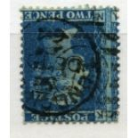 1858 2d blue plate ? (NJ) watermark inverted fu, o/c. SG 46wi. Cat £300.