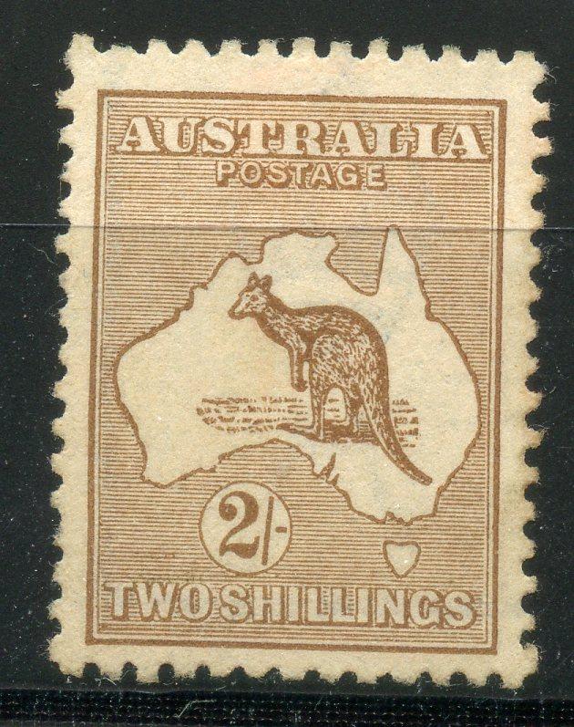 AUSTRALIA 1915 - 27 2/- brown wmk narrow crown unused. SG 41. Cat £275.