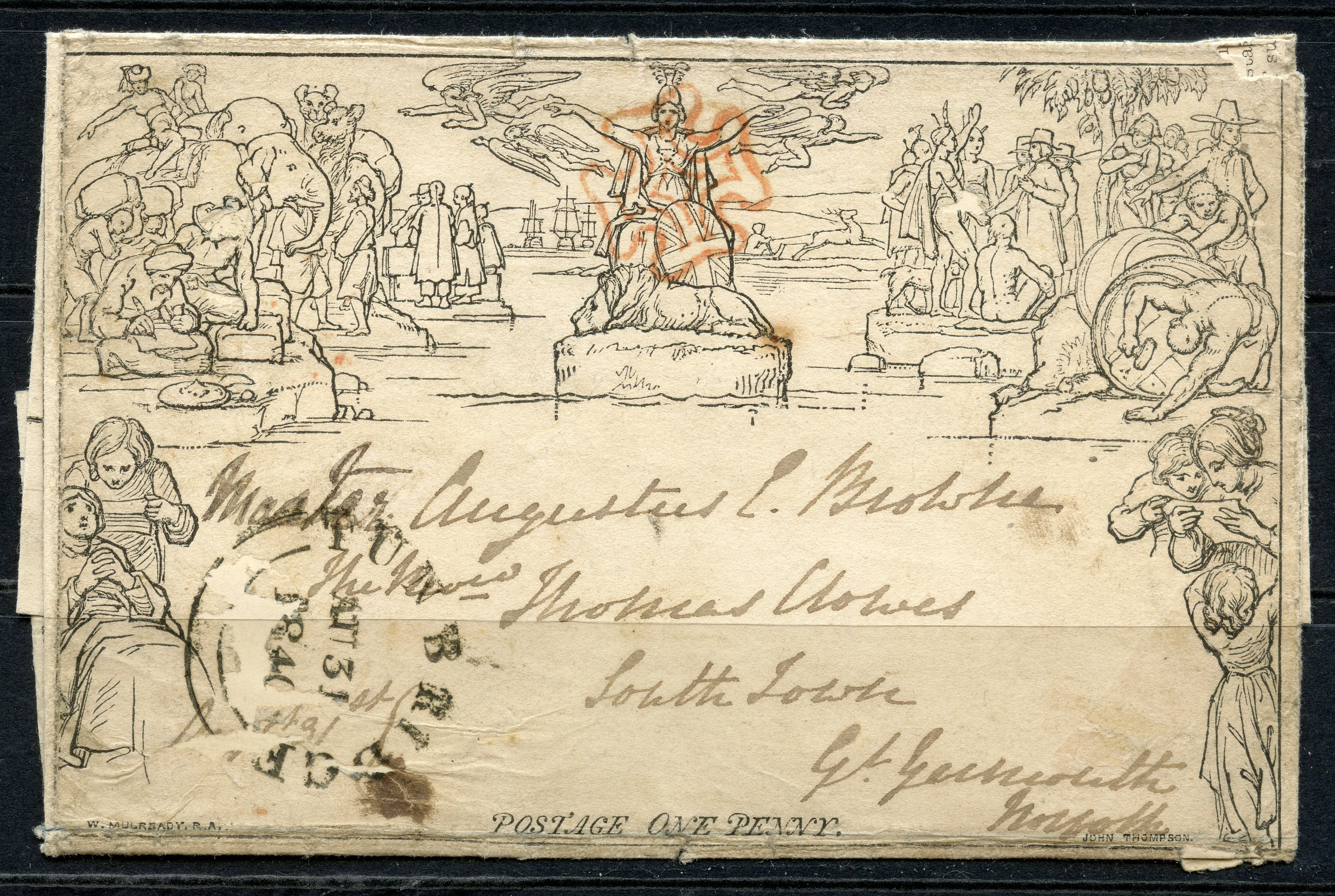 1840 Mulready August 1d letter sheet from Tonbridge to Great Yarmouth cancelled with good red MX.