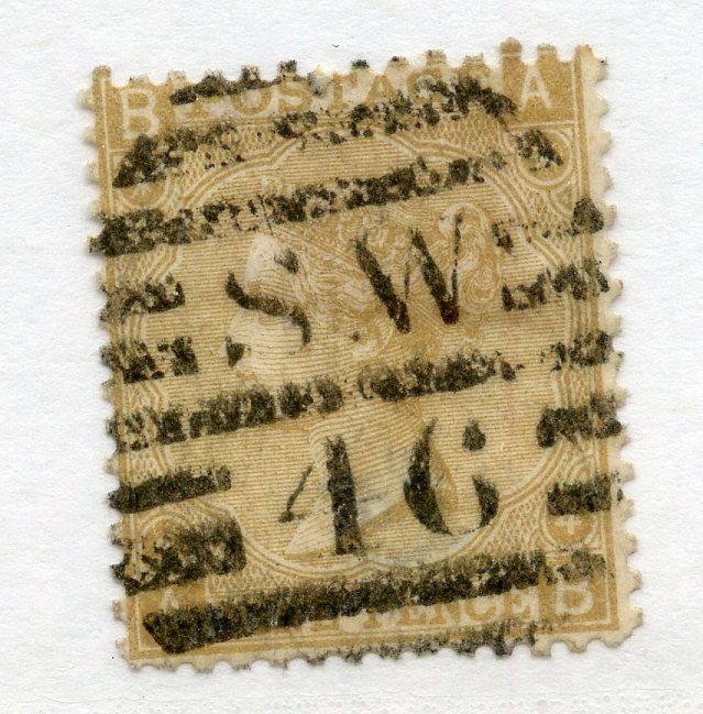1867 - 80 9d straw (AB) sound used. SG 110. Cat £300.