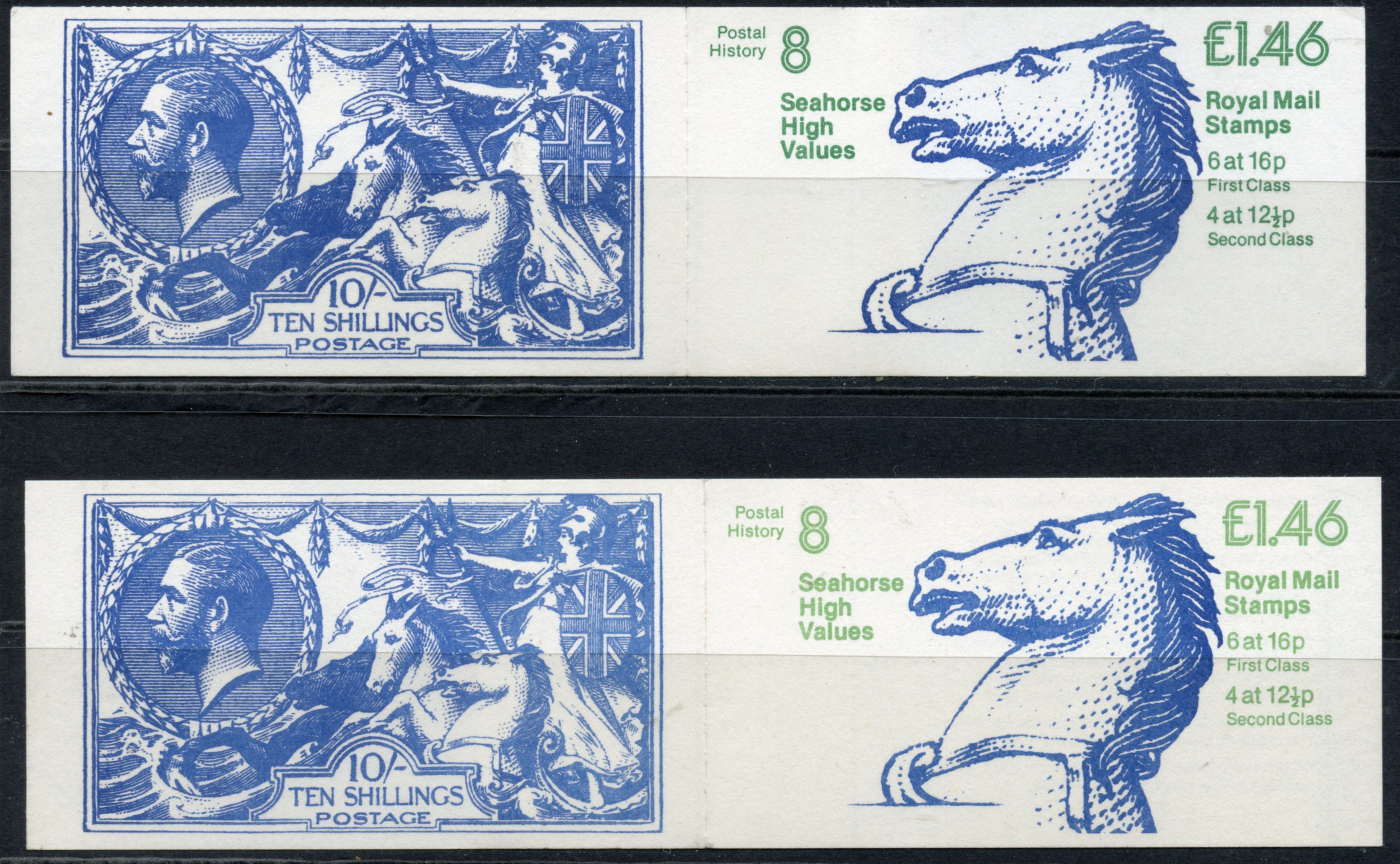 BOOKLETS 1983 £1.46 seahorse corrected rate both selvedge at left and right. SG F01a A, B. Cat £63.