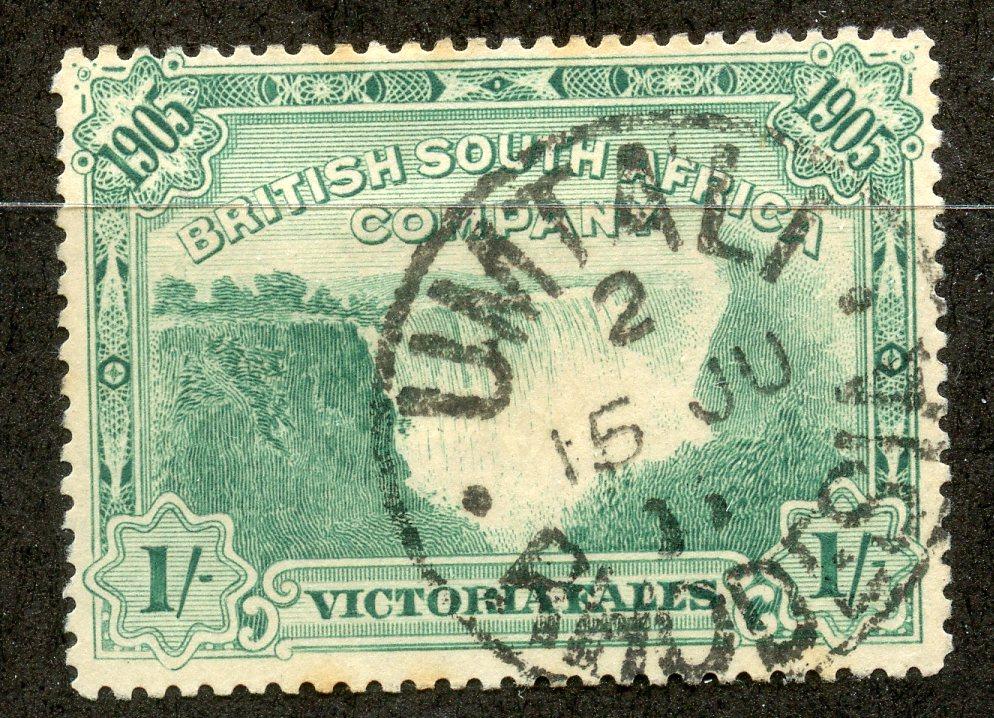 RHODESIA 1905 1/- Falls fu with Umtali datestamp. SG 97. Cat £50.