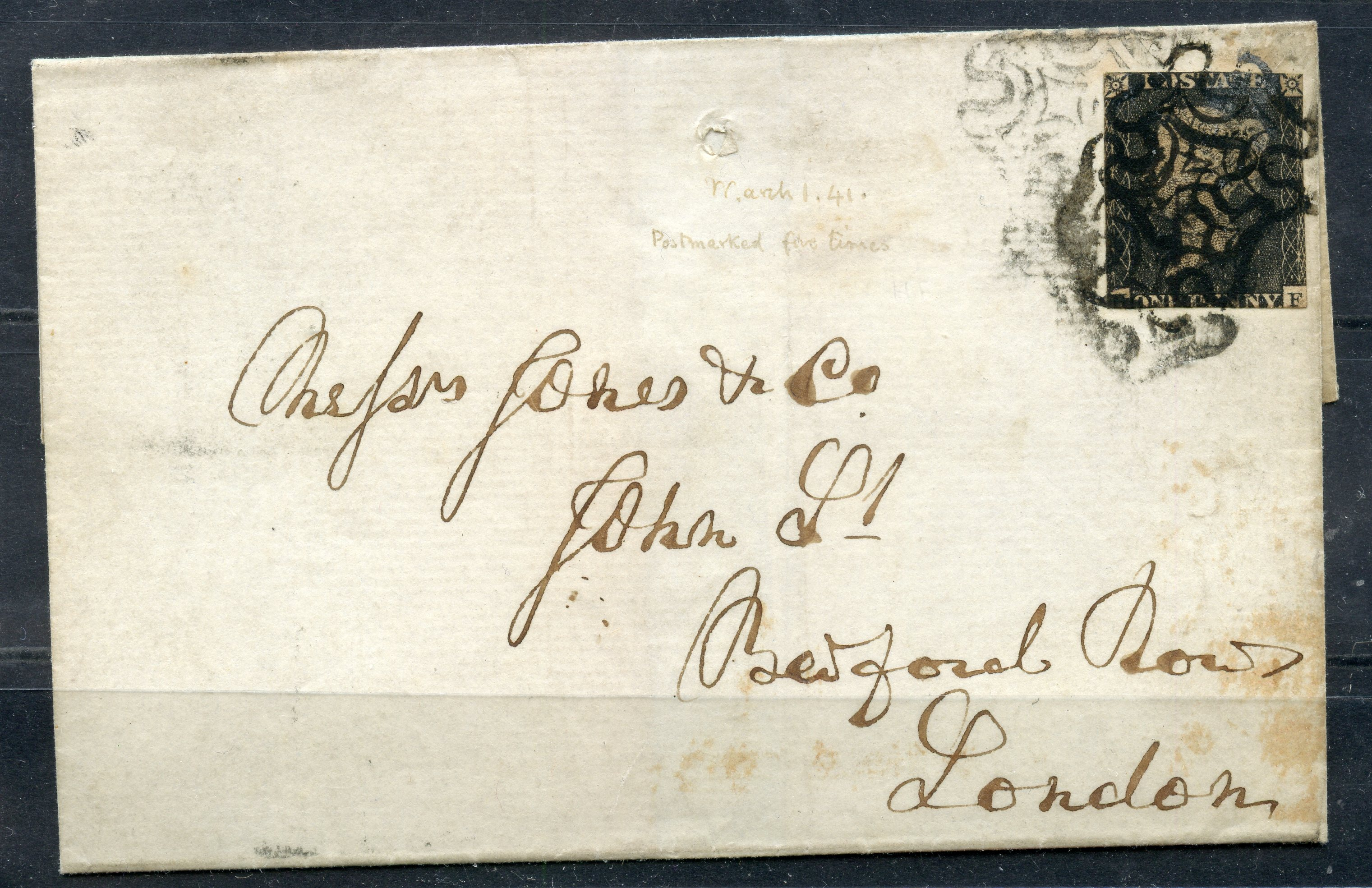 POSTAL HISTORY 1841 1d black with tight/into margins all round on wrapper from Newcastle-under-