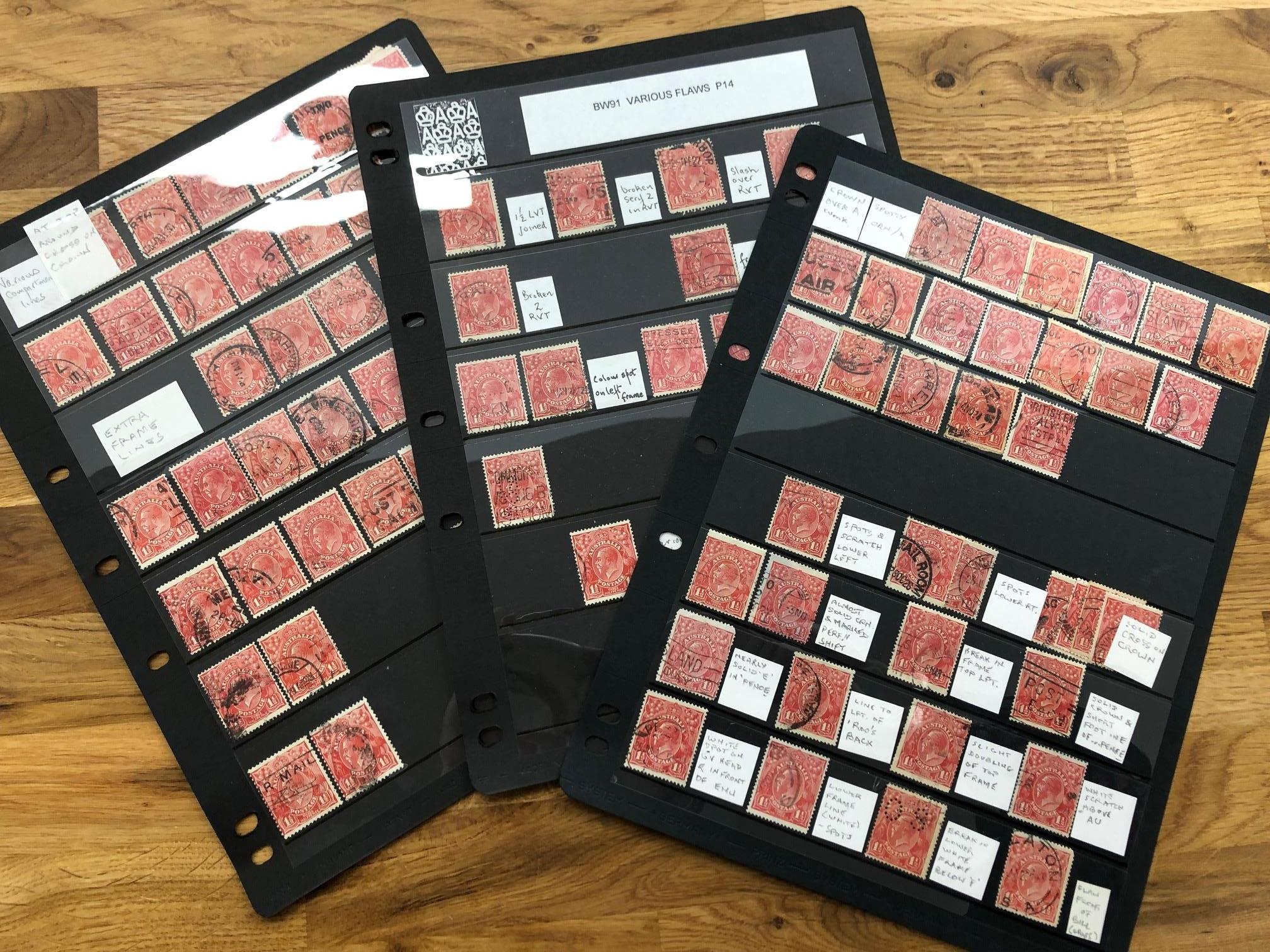 AUSTRALIA various identified flaws on KGV 1½d red heads on 3 Hagners (100+), some duplication with
