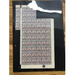 TRINIDAD 1896 - 1906 2½d dull purple and blue part sheet of 61 inc the plate no 1 um, usual light