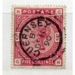 1883 5/- crimson (GH) fu with Guernsey cds. SG 181. Cat £250.
