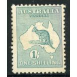 AUSTRALIA 1915 - 27 1/- blue green wmk narrow crown mint. SG 40. Cat £60.