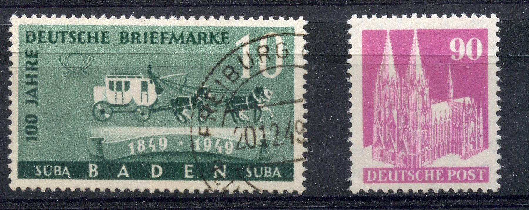 GERMAN ALLIED OCC BR & AMERICAN ZONE 1948 - 50 90pf bright purple type 3 perf 14 um. SG A131ba.