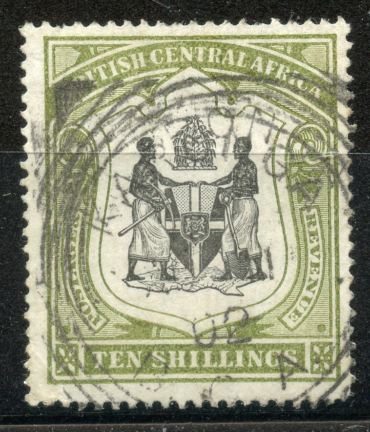 NYASALAND 1897 - 1900 10/- black and olive green wmk Crown CC fu with squared circle cancel, nibbled