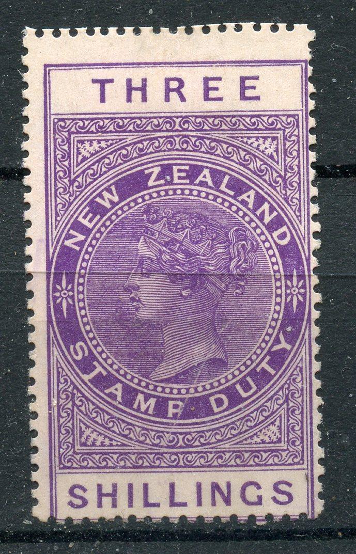 NEW ZEALAND POSTAL FISCALS 1907 3/- mauve perf 14½ x 14 unused. SG F92. Cat £250.
