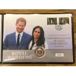 COIN COVERS 2018 IOM Royal Wedding 10z silver coin in folder.