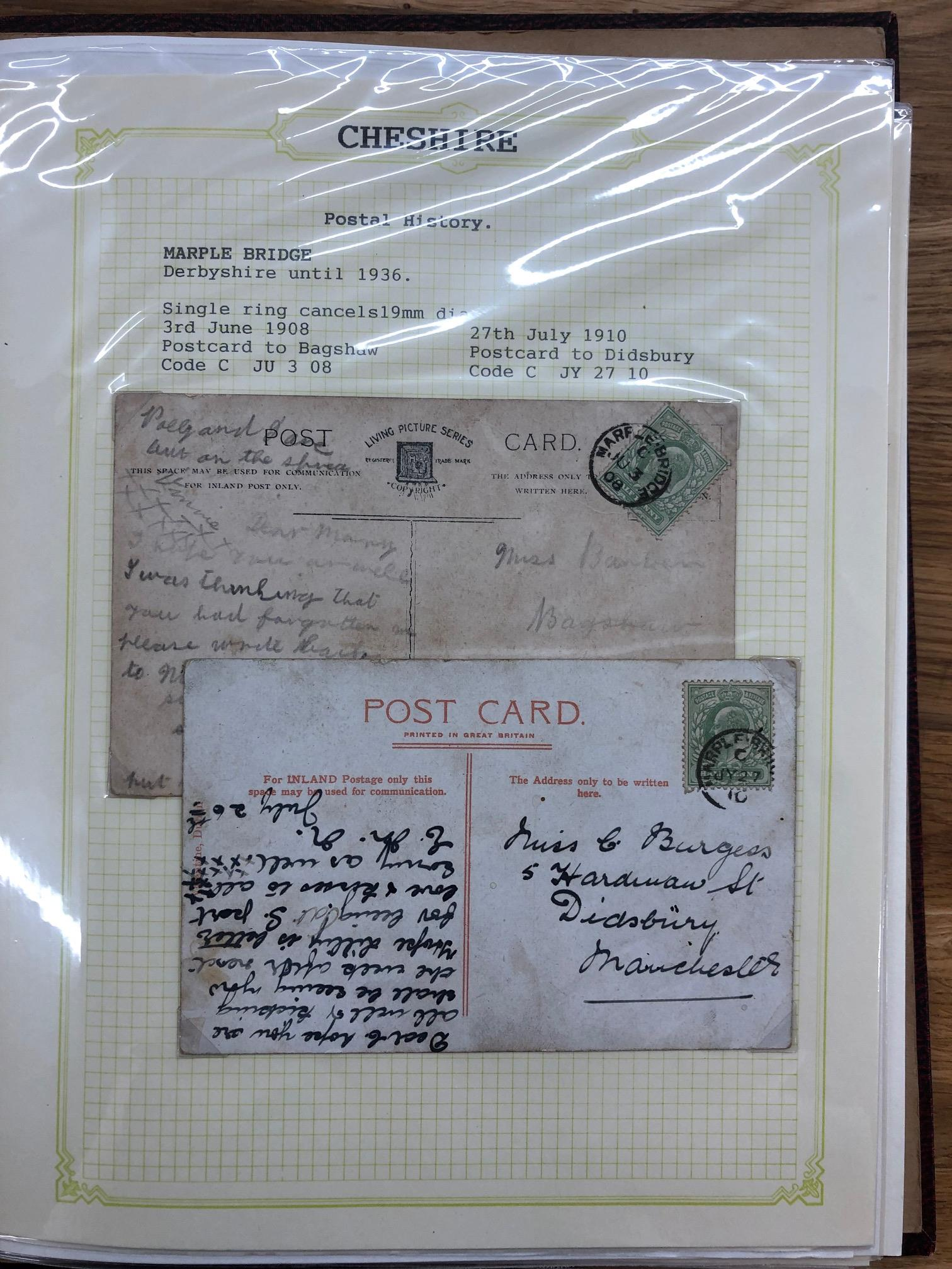 POSTAL HISTORY Cheshire collection of covers and PCs, KE7 to KGVI in album. Includes several KE7