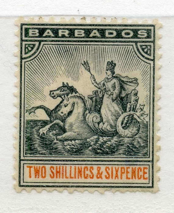 BARBADOS 1892 - 1903 2/6 blue black and orange mint, nibbled perf. SG 114. Cat £50.